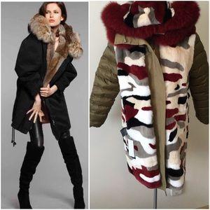 Yves Salomon army Reversible Intarsia Parka Coat